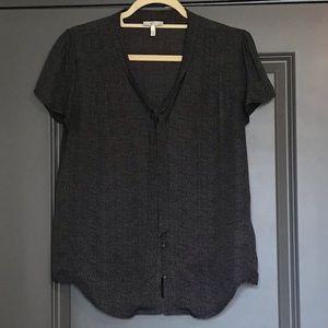 Joie Black & Grey Tie Neck Print Silk Blouse